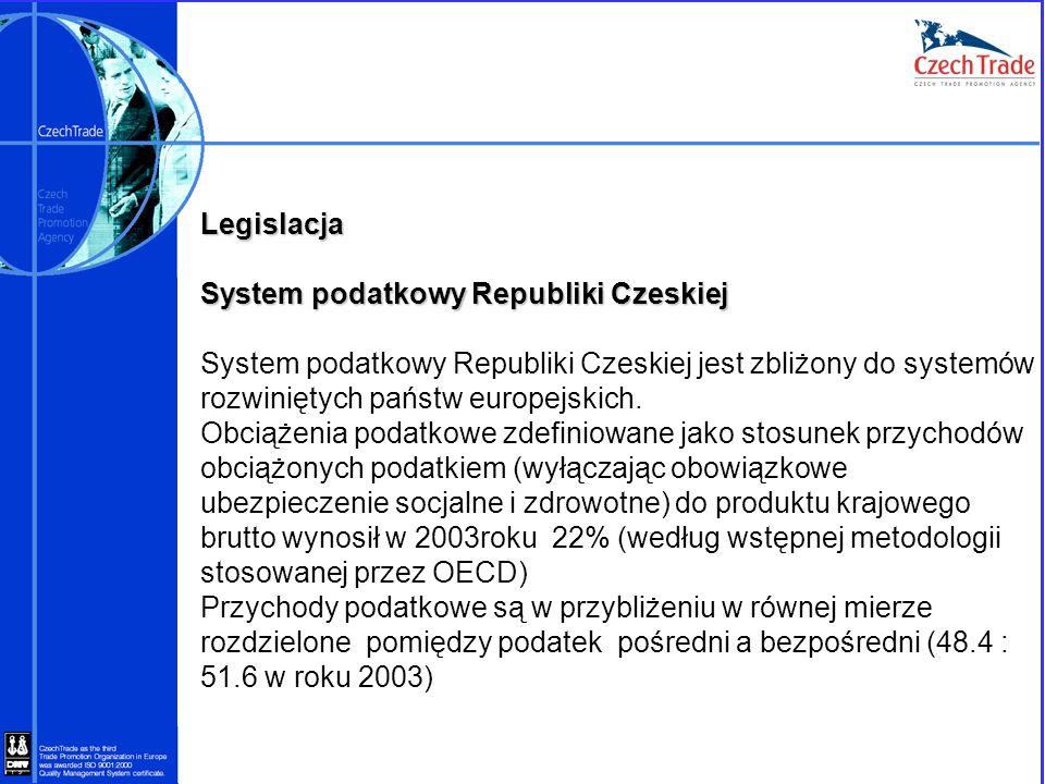 LegislacjaSystem podatkowy Republiki Czeskiej. System podatkowy Republiki Czeskiej jest zbliżony do systemów rozwiniętych państw europejskich.