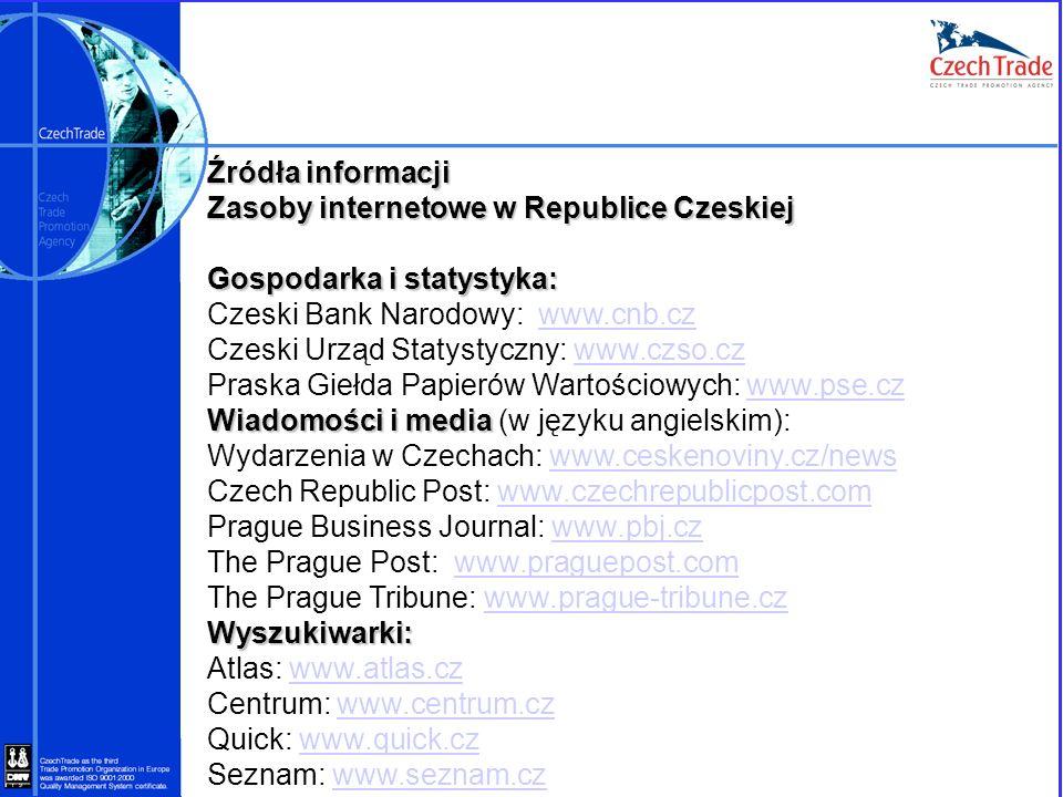 Źródła informacji Zasoby internetowe w Republice Czeskiej. Gospodarka i statystyka: Czeski Bank Narodowy: www.cnb.cz.