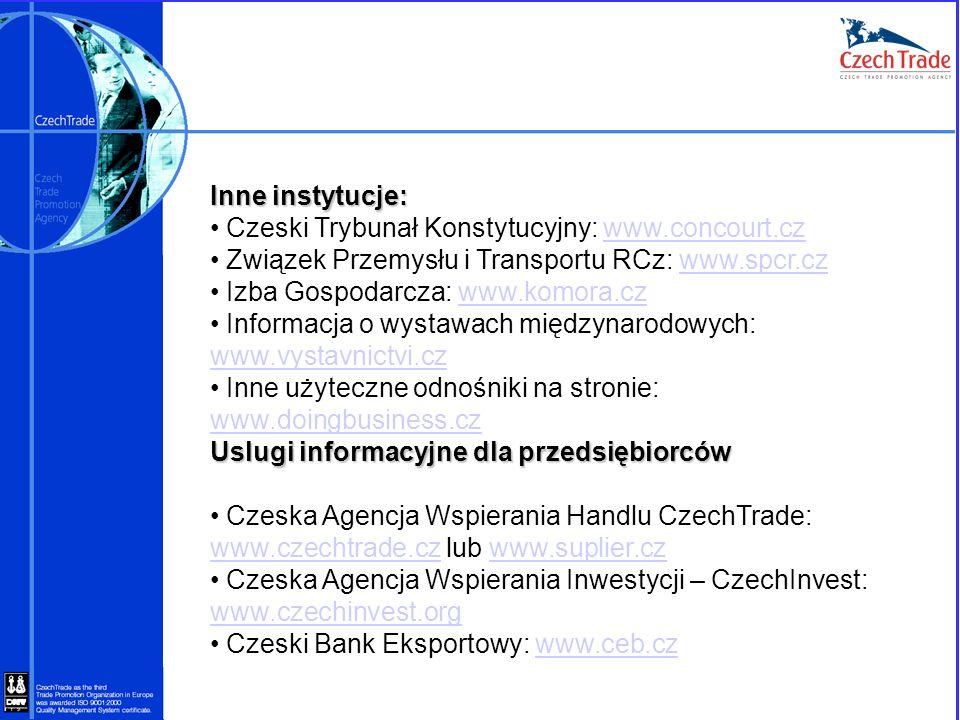 Inne instytucje:Czeski Trybunał Konstytucyjny: www.concourt.cz. Związek Przemysłu i Transportu RCz: www.spcr.cz.