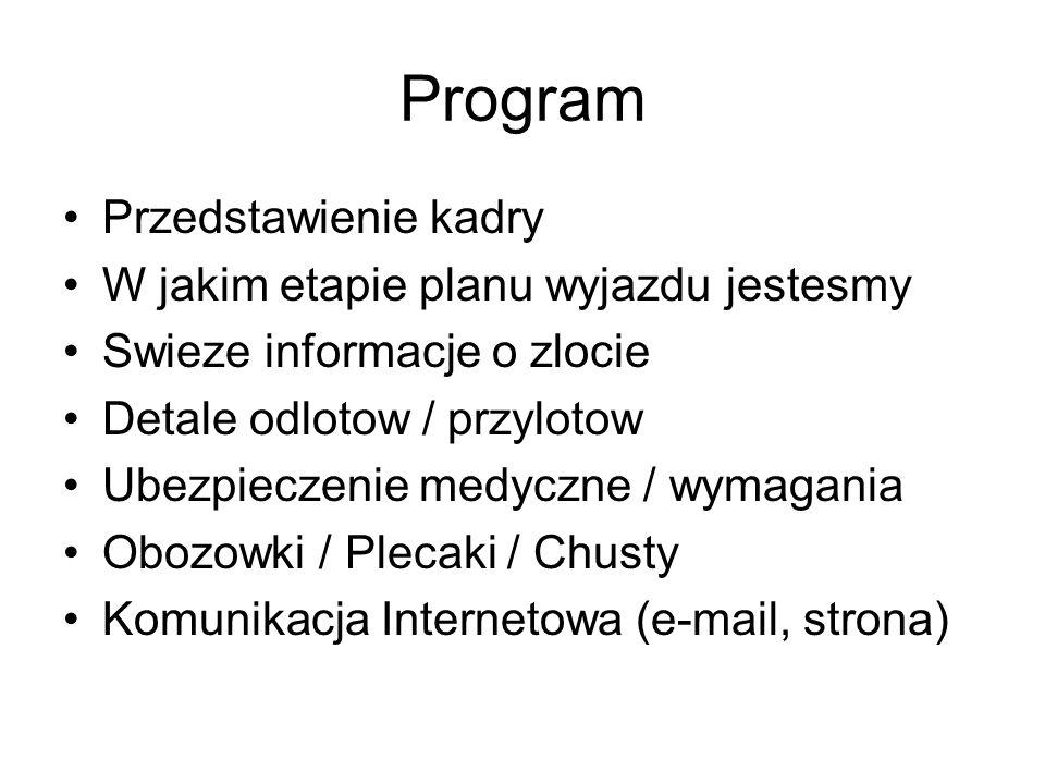 Program Przedstawienie kadry W jakim etapie planu wyjazdu jestesmy