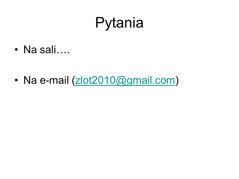 Pytania Na sali…. Na e-mail (zlot2010@gmail.com)