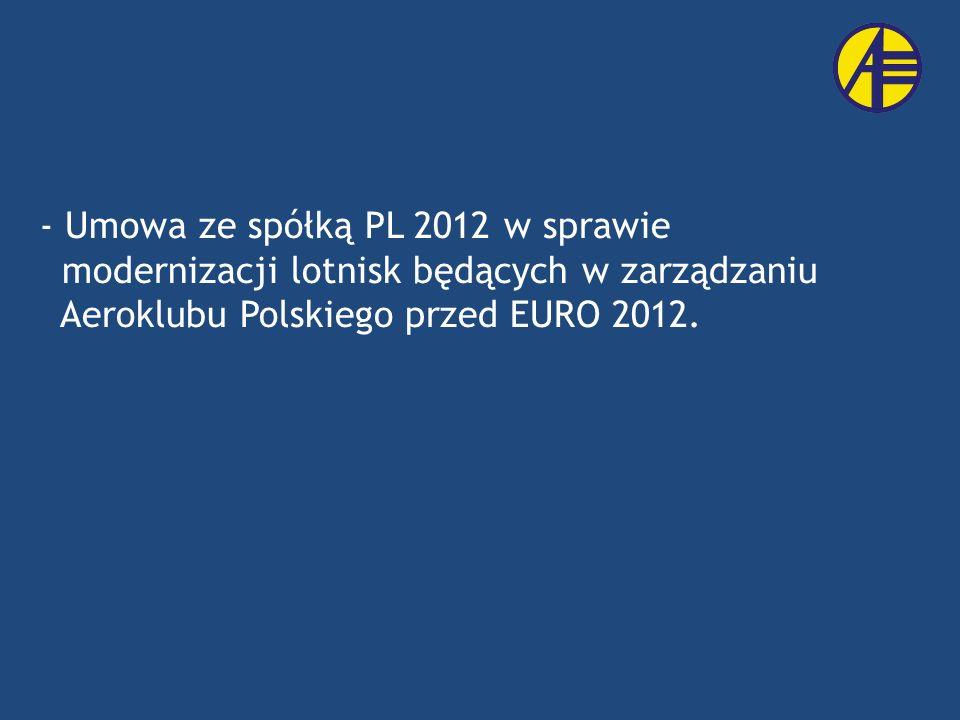 Umowa ze spółką PL 2012 w sprawie