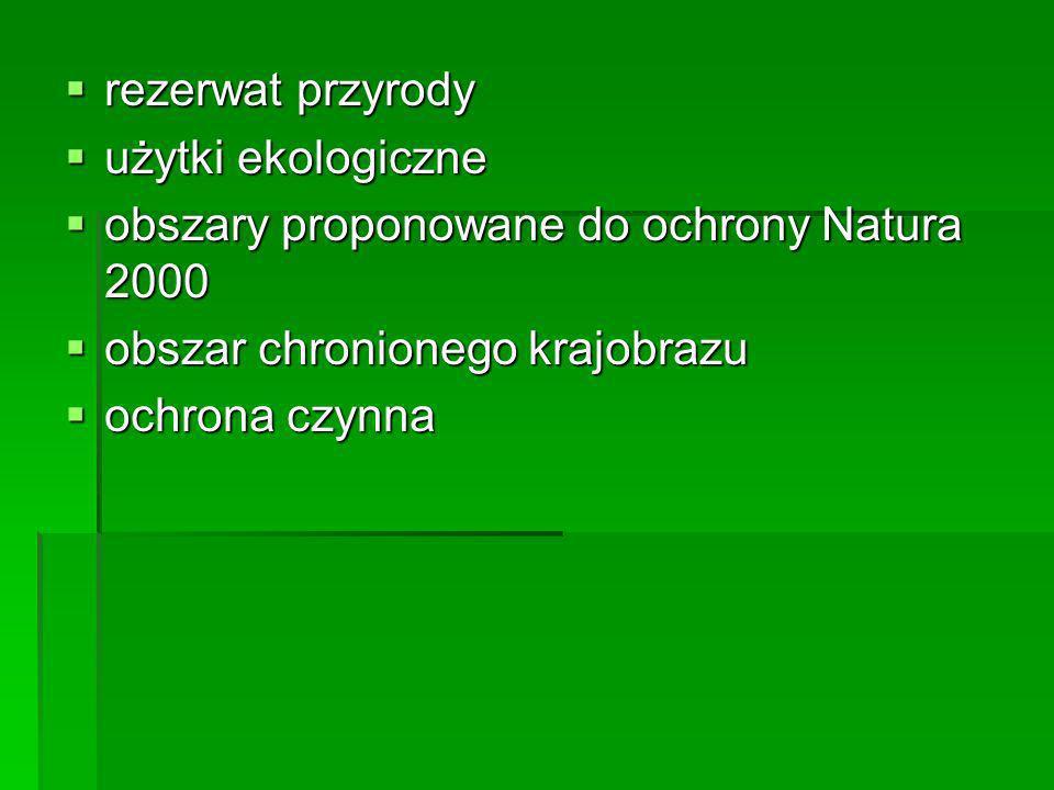 rezerwat przyrody użytki ekologiczne. obszary proponowane do ochrony Natura 2000. obszar chronionego krajobrazu.