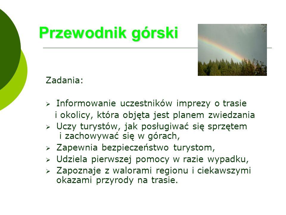 Przewodnik górski Zadania: Informowanie uczestników imprezy o trasie
