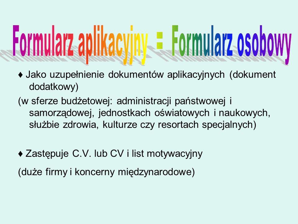 Formularz aplikacyjny = Formularz osobowy