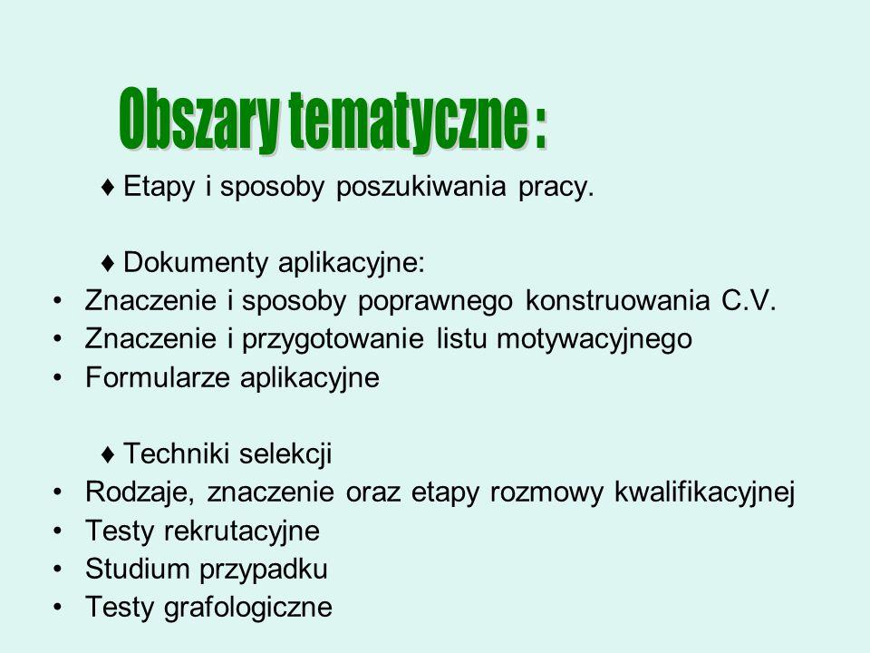 Obszary tematyczne : ♦ Etapy i sposoby poszukiwania pracy.