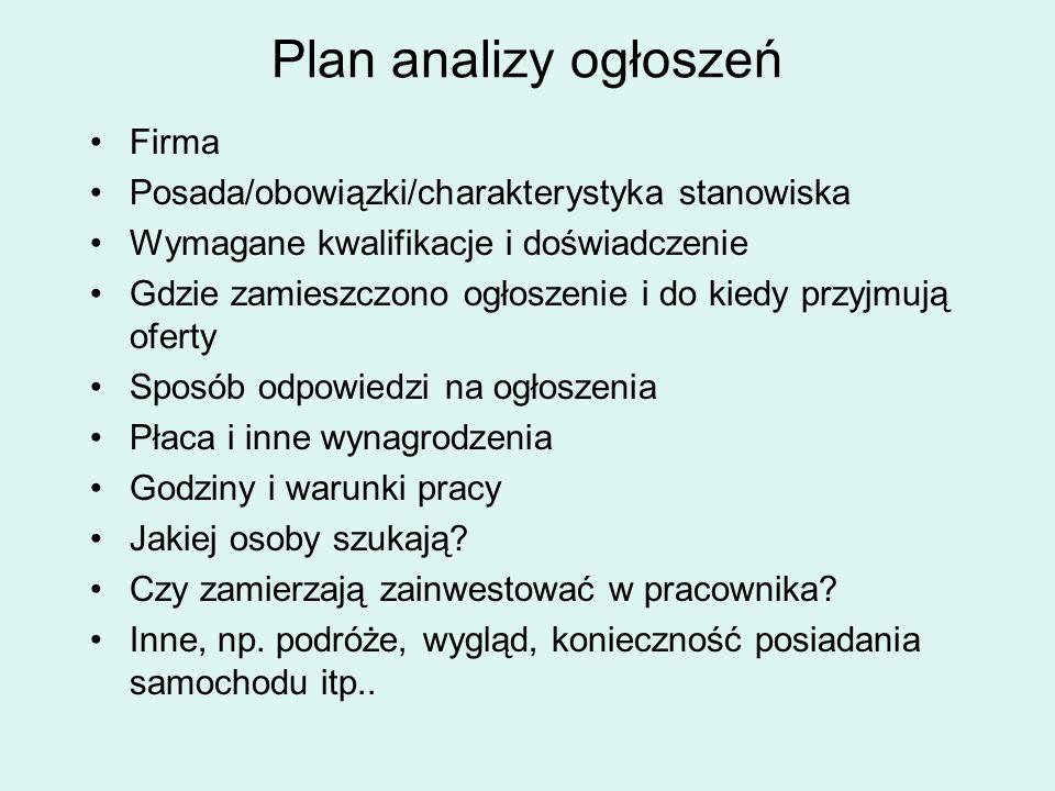 Plan analizy ogłoszeń Firma