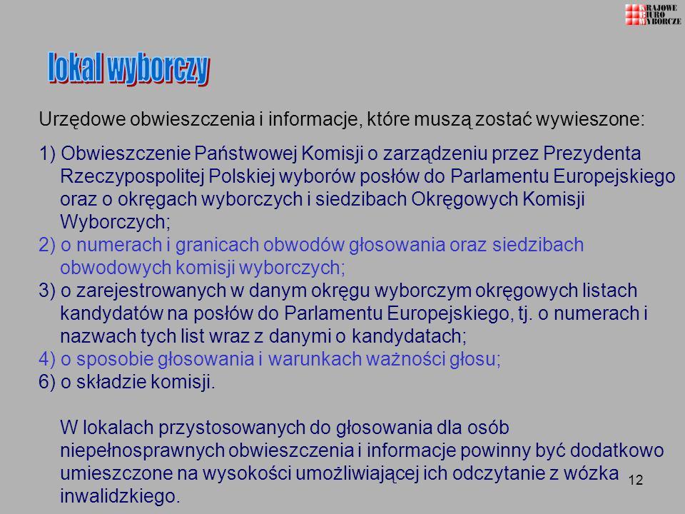 lokal wyborczy Urzędowe obwieszczenia i informacje, które muszą zostać wywieszone: