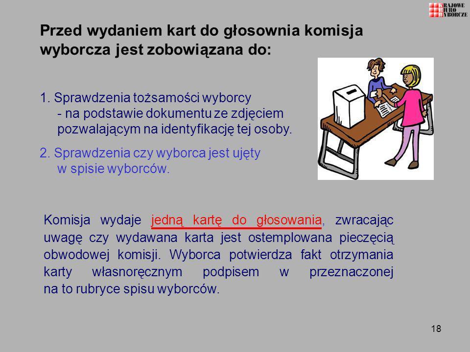 Przed wydaniem kart do głosownia komisja wyborcza jest zobowiązana do: