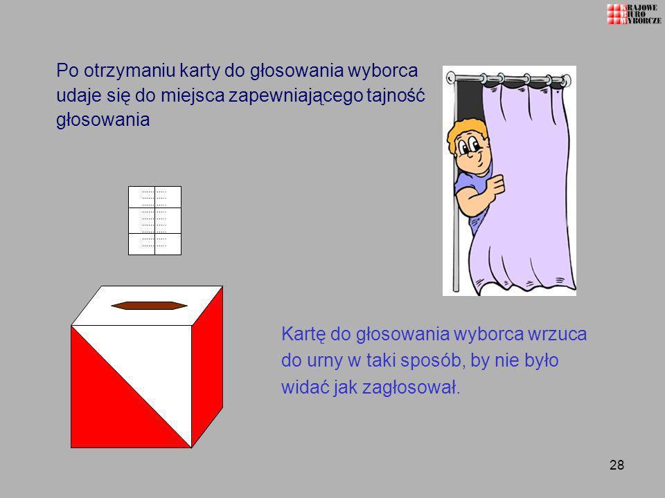 Po otrzymaniu karty do głosowania wyborca udaje się do miejsca zapewniającego tajność głosowania