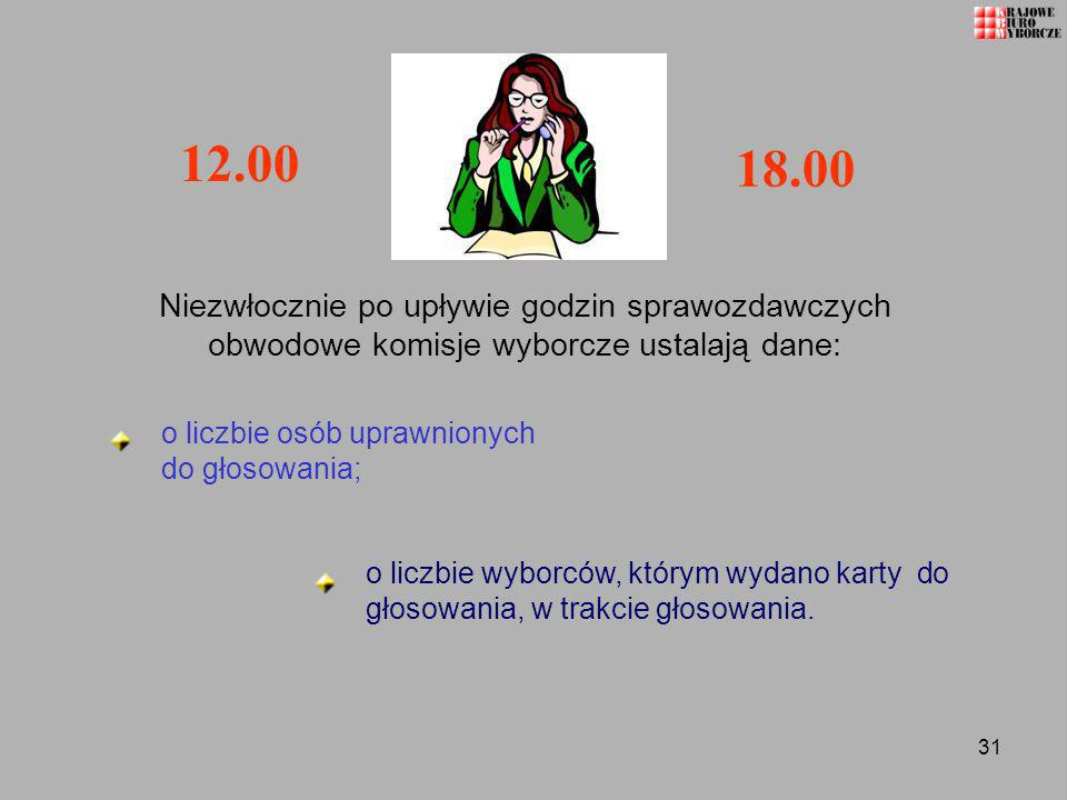 12.00 18.00. Niezwłocznie po upływie godzin sprawozdawczych obwodowe komisje wyborcze ustalają dane: