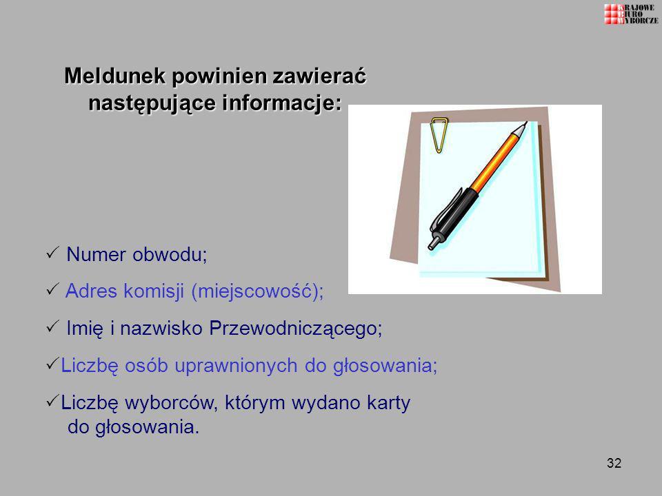Meldunek powinien zawierać następujące informacje:
