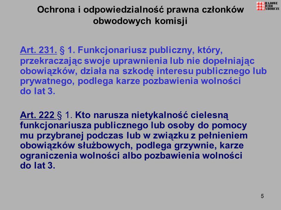 Ochrona i odpowiedzialność prawna członków obwodowych komisji