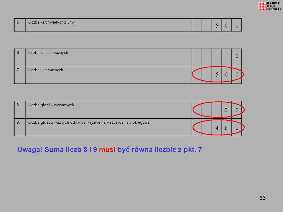 Uwaga! Suma liczb 8 i 9 musi być równa liczbie z pkt. 7