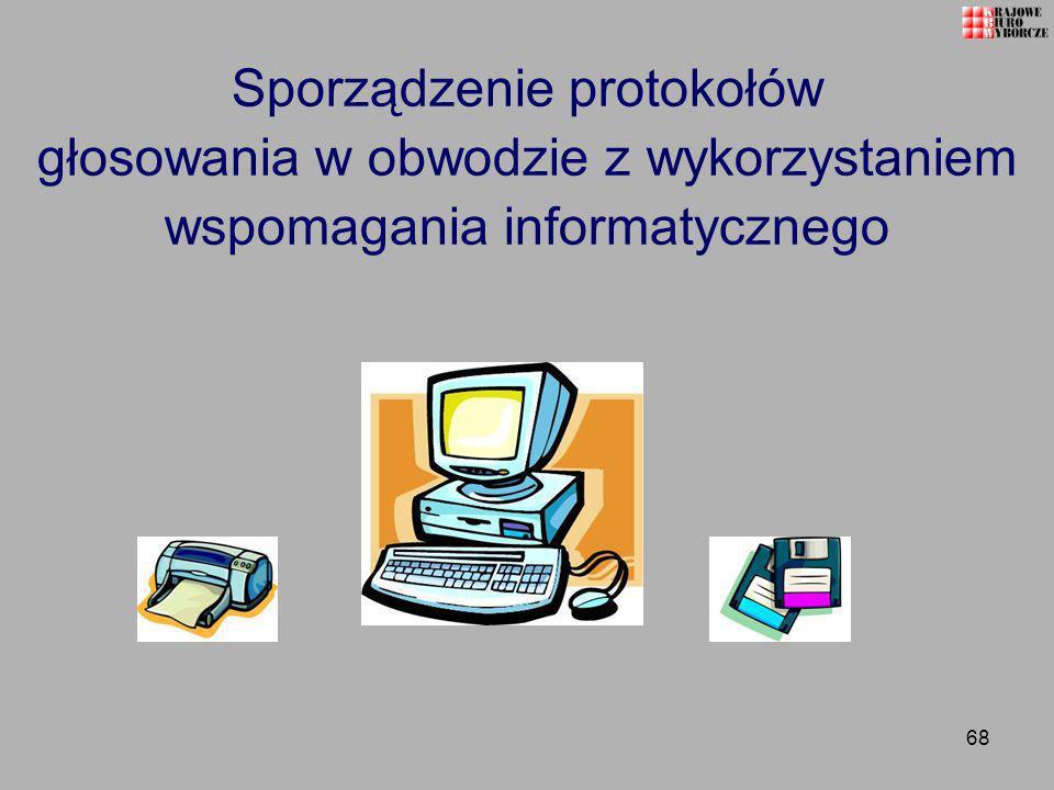 Sporządzenie protokołów głosowania w obwodzie z wykorzystaniem wspomagania informatycznego