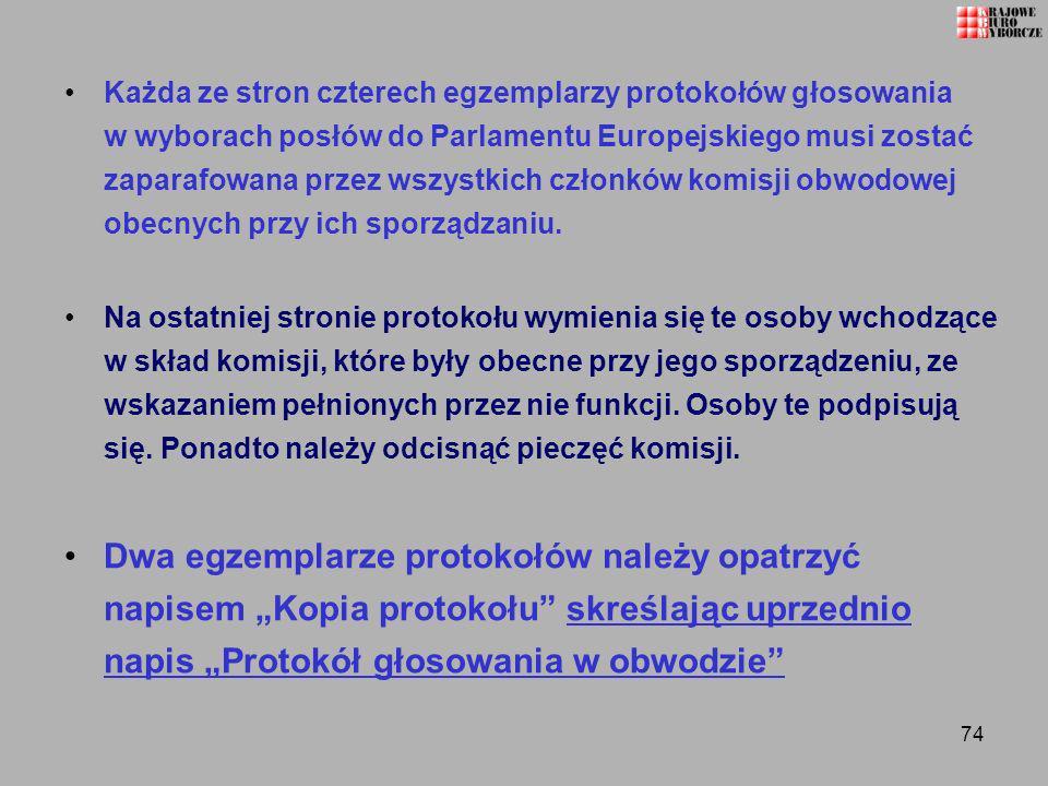 Każda ze stron czterech egzemplarzy protokołów głosowania w wyborach posłów do Parlamentu Europejskiego musi zostać zaparafowana przez wszystkich członków komisji obwodowej obecnych przy ich sporządzaniu.