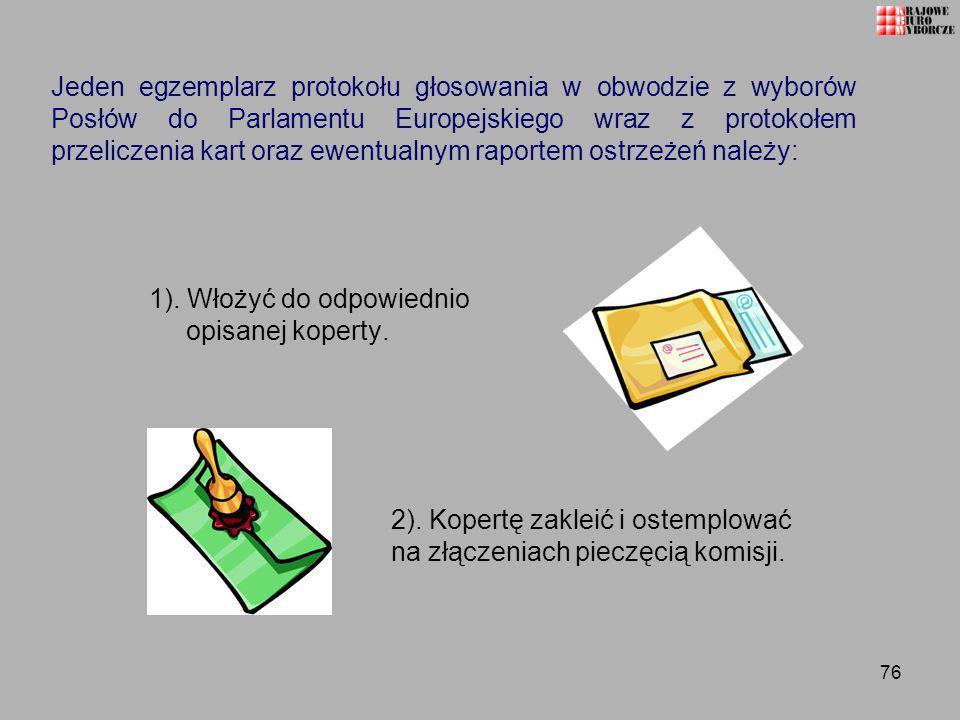 Jeden egzemplarz protokołu głosowania w obwodzie z wyborów Posłów do Parlamentu Europejskiego wraz z protokołem przeliczenia kart oraz ewentualnym raportem ostrzeżeń należy: