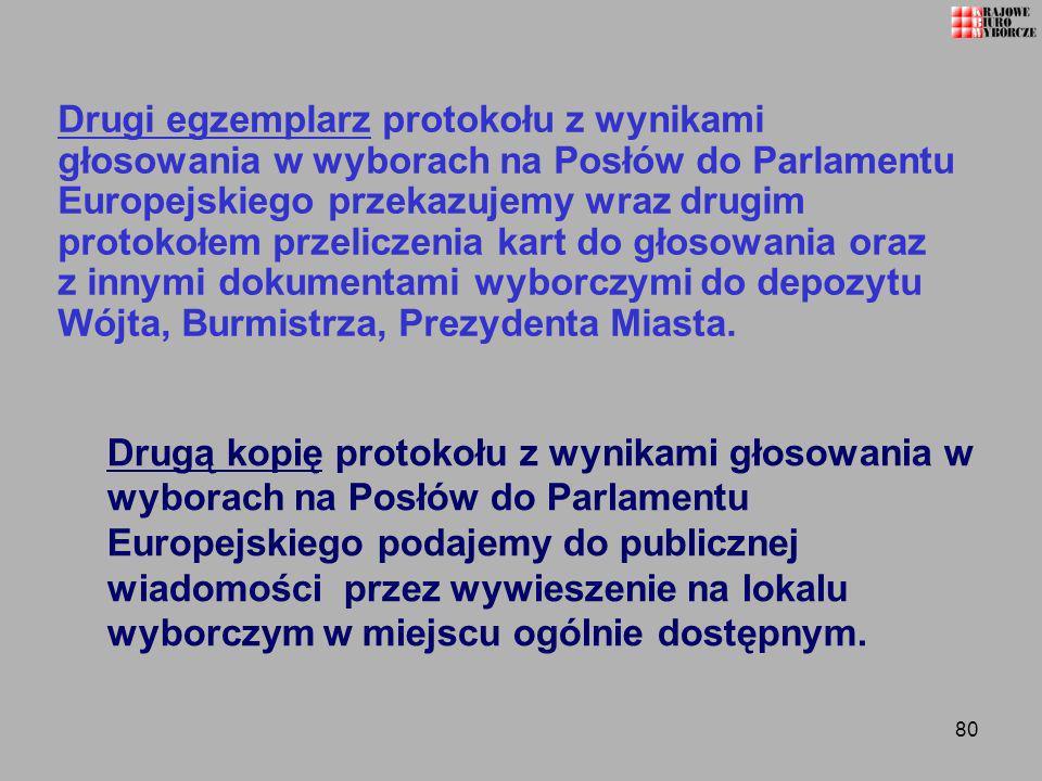 Drugi egzemplarz protokołu z wynikami głosowania w wyborach na Posłów do Parlamentu Europejskiego przekazujemy wraz drugim protokołem przeliczenia kart do głosowania oraz z innymi dokumentami wyborczymi do depozytu Wójta, Burmistrza, Prezydenta Miasta.