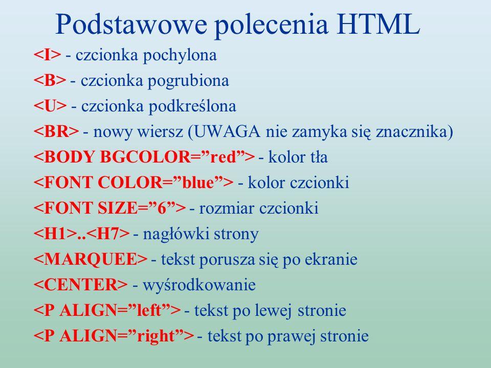 Podstawowe polecenia HTML