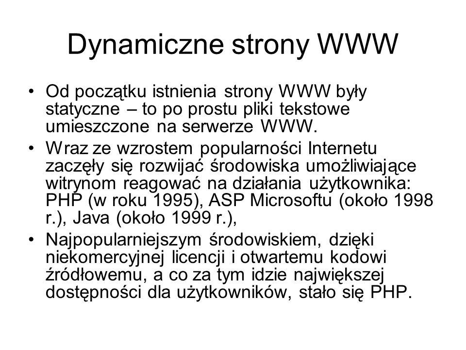 Dynamiczne strony WWW Od początku istnienia strony WWW były statyczne – to po prostu pliki tekstowe umieszczone na serwerze WWW.