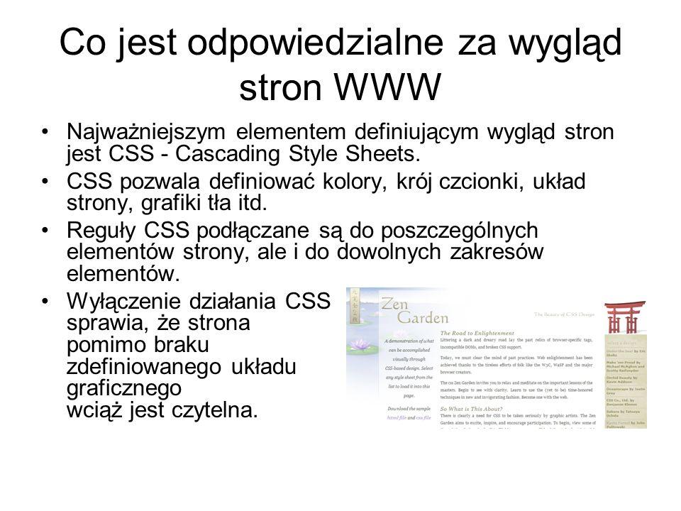 Co jest odpowiedzialne za wygląd stron WWW