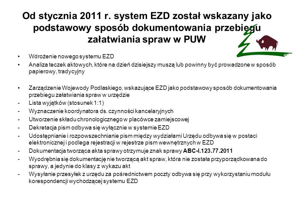Od stycznia 2011 r. system EZD został wskazany jako podstawowy sposób dokumentowania przebiegu załatwiania spraw w PUW