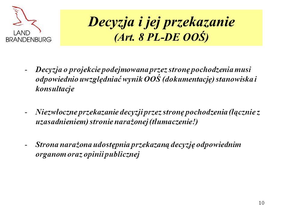 Decyzja i jej przekazanie (Art. 8 PL-DE OOŚ)