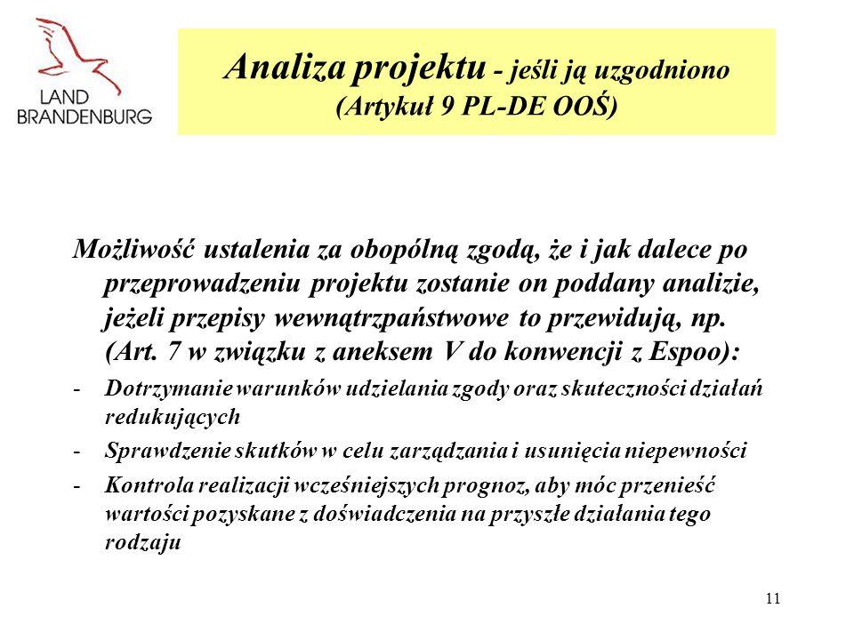 Analiza projektu - jeśli ją uzgodniono (Artykuł 9 PL-DE OOŚ)