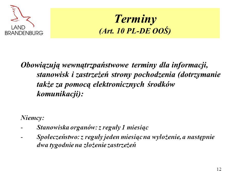 Terminy (Art. 10 PL-DE OOŚ)
