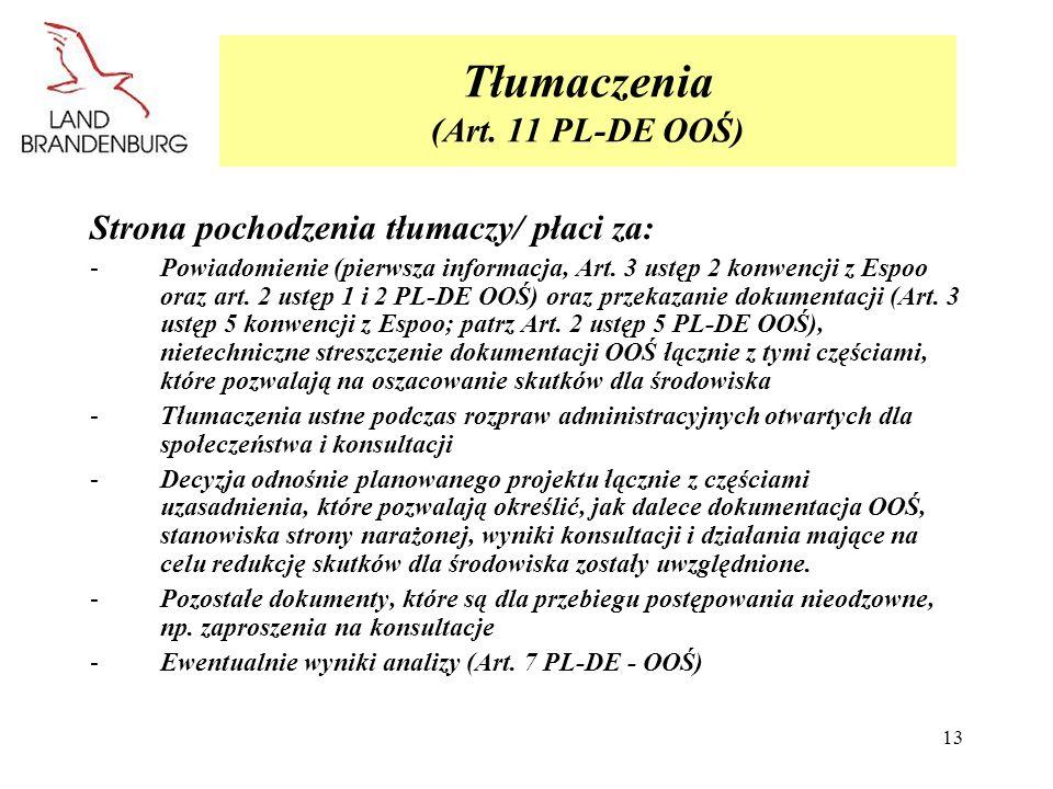 Tłumaczenia (Art. 11 PL-DE OOŚ)