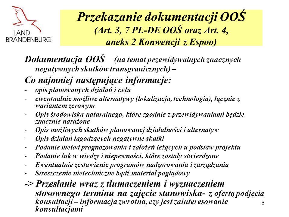 MLUR Przekazanie dokumentacji OOŚ (Art. 3, 7 PL-DE OOŚ oraz Art. 4, aneks 2 Konwencji z Espoo)