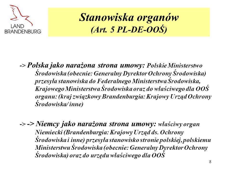 Stanowiska organów (Art. 5 PL-DE-OOŚ)