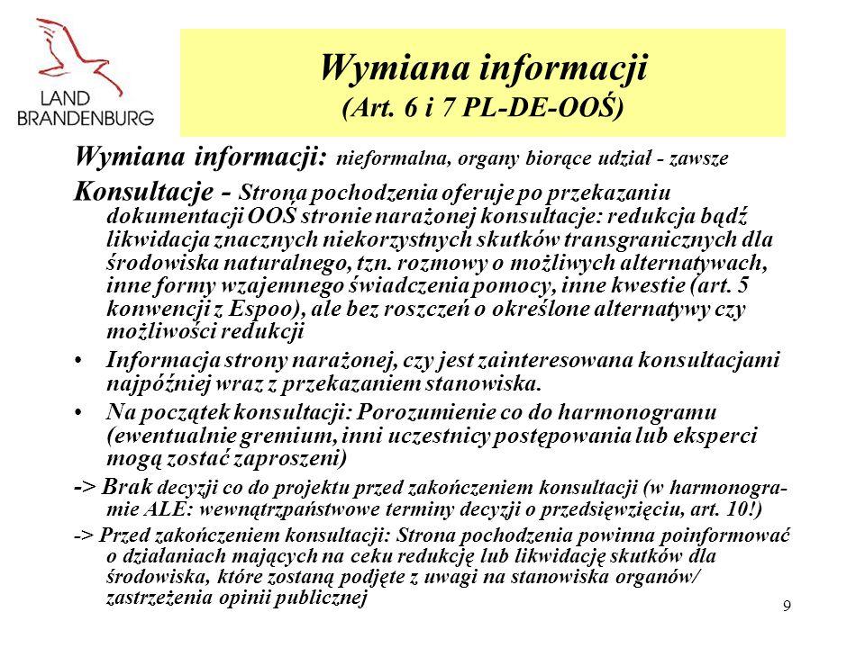 Wymiana informacji (Art. 6 i 7 PL-DE-OOŚ)