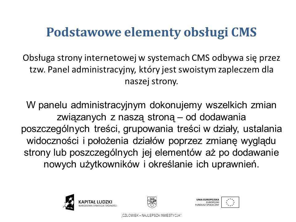 Podstawowe elementy obsługi CMS