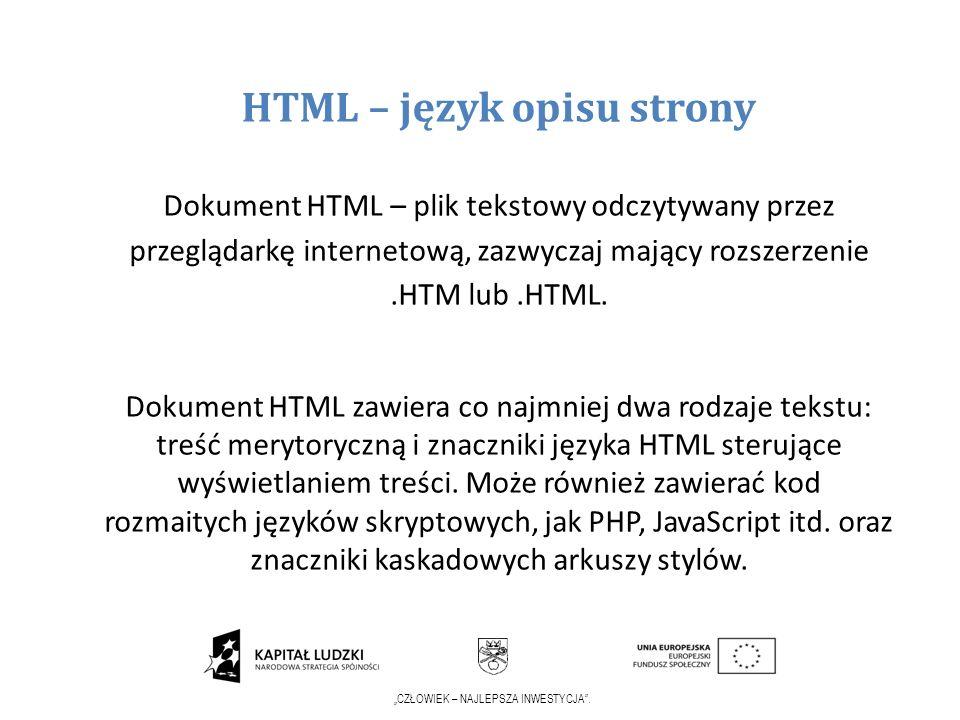 HTML – język opisu strony