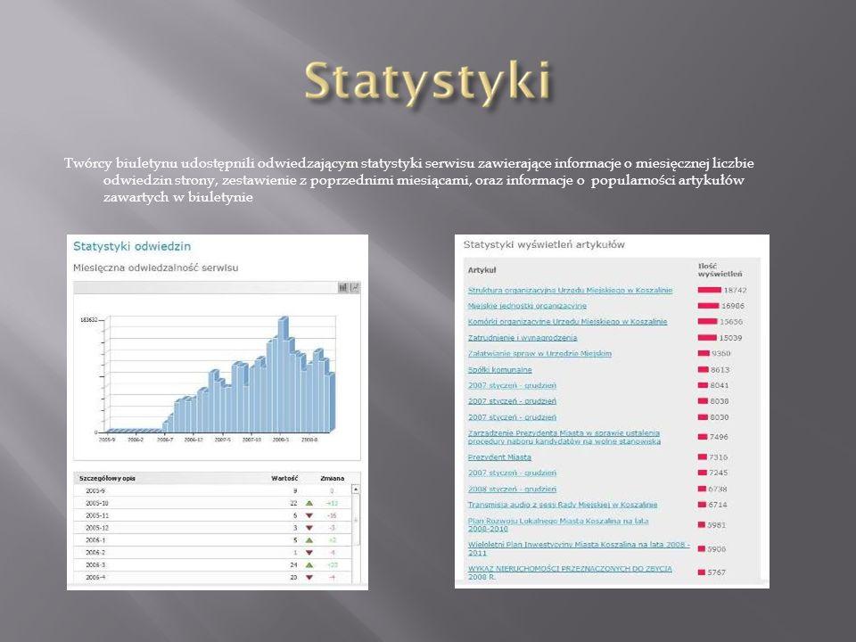 Twórcy biuletynu udostępnili odwiedzającym statystyki serwisu zawierające informacje o miesięcznej liczbie odwiedzin strony, zestawienie z poprzednimi miesiącami, oraz informacje o popularności artykułów zawartych w biuletynie