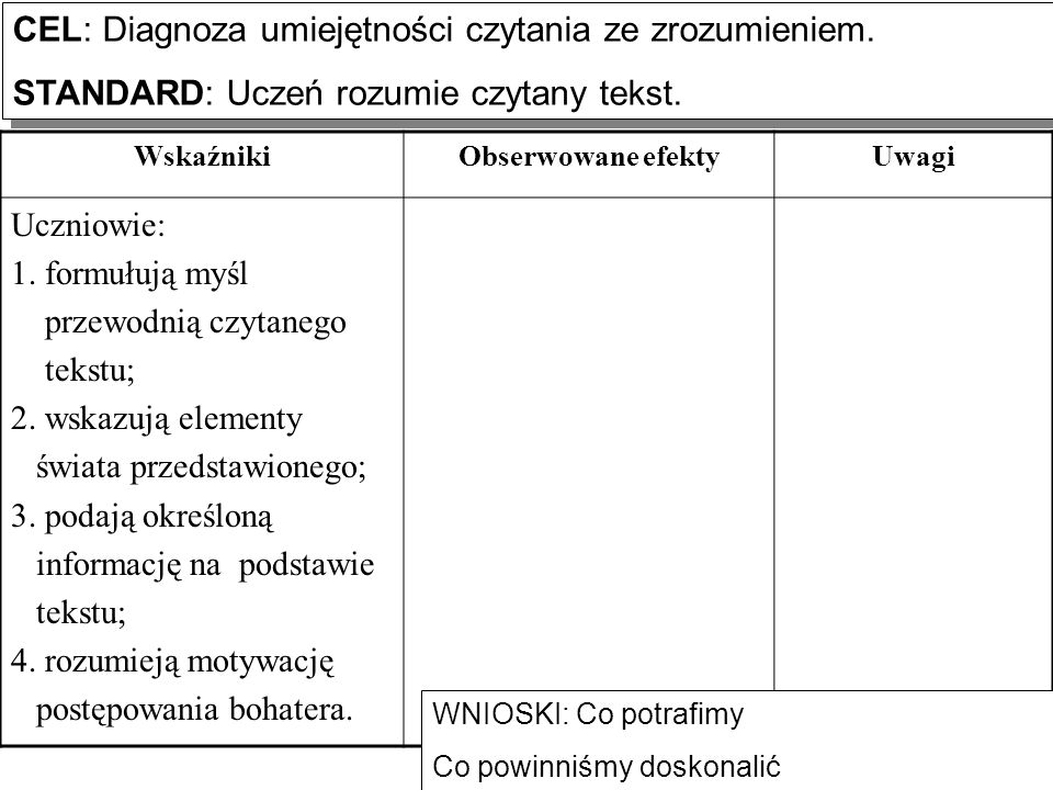 CEL: Diagnoza umiejętności czytania ze zrozumieniem.