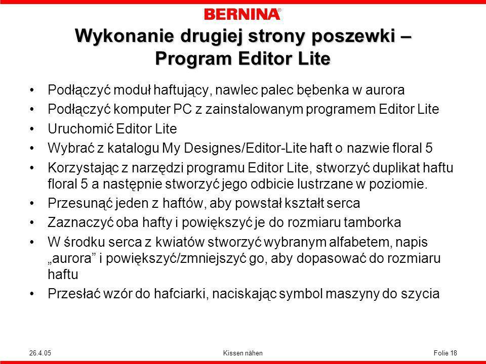 Wykonanie drugiej strony poszewki – Program Editor Lite
