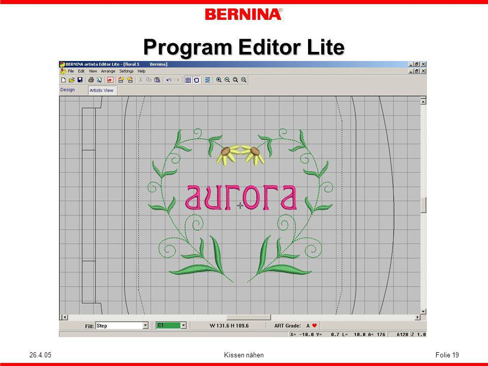 Program Editor Lite 26.4.05 Kissen nähen