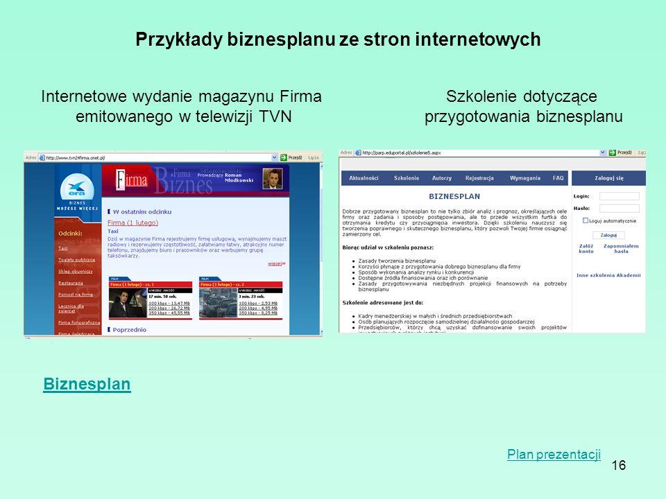 Przykłady biznesplanu ze stron internetowych