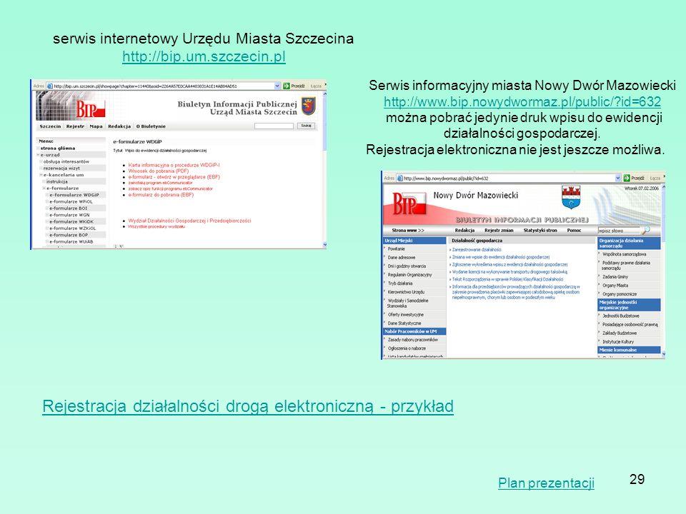 Rejestracja działalności drogą elektroniczną - przykład