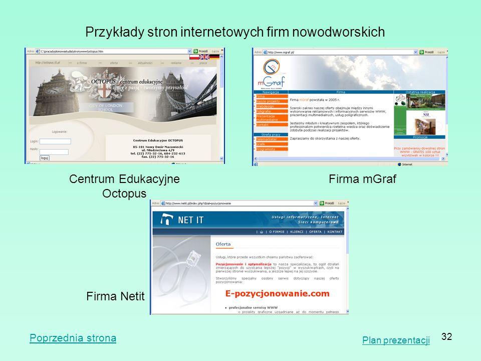 Przykłady stron internetowych firm nowodworskich