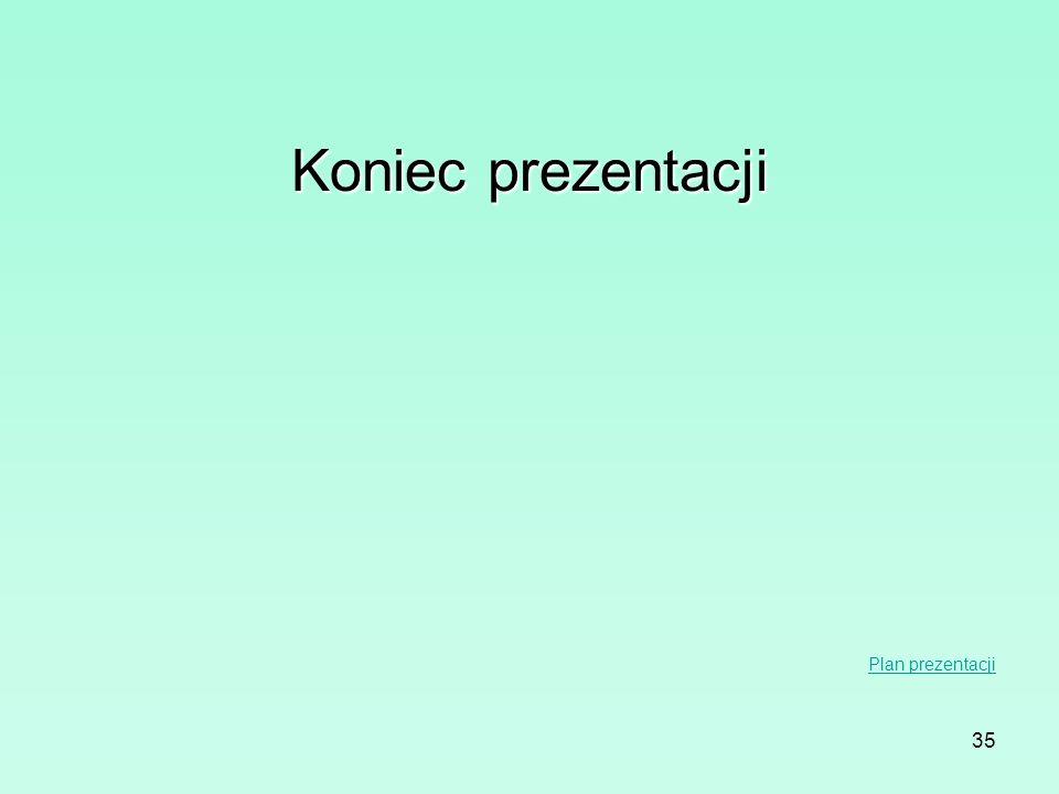 Koniec prezentacji Plan prezentacji
