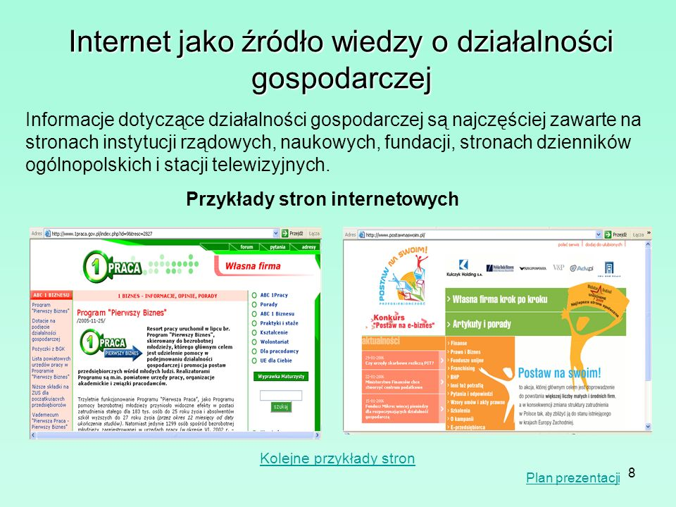 Przykłady stron internetowych