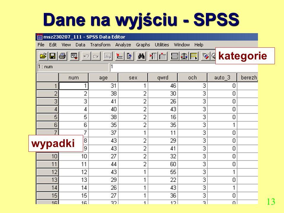 Dane na wyjściu - SPSS kategorie wypadki 13