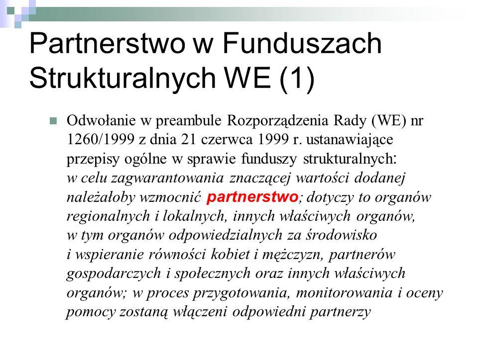 Partnerstwo w Funduszach Strukturalnych WE (1)