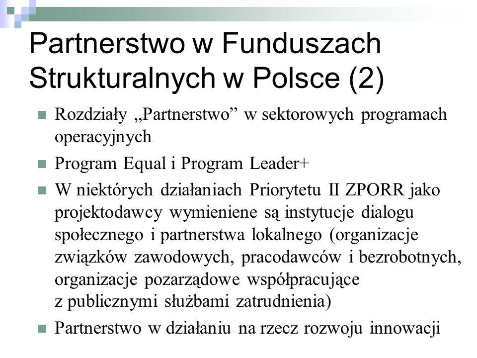 Partnerstwo w Funduszach Strukturalnych w Polsce (2)