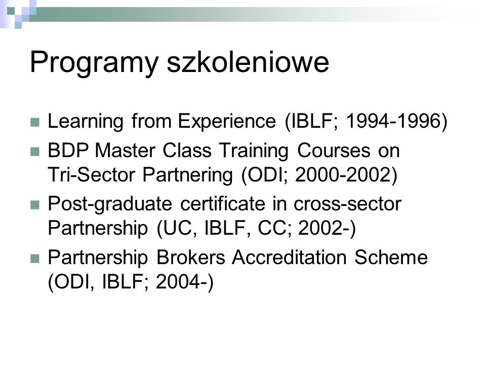 Programy szkoleniowe Learning from Experience (IBLF; 1994-1996)