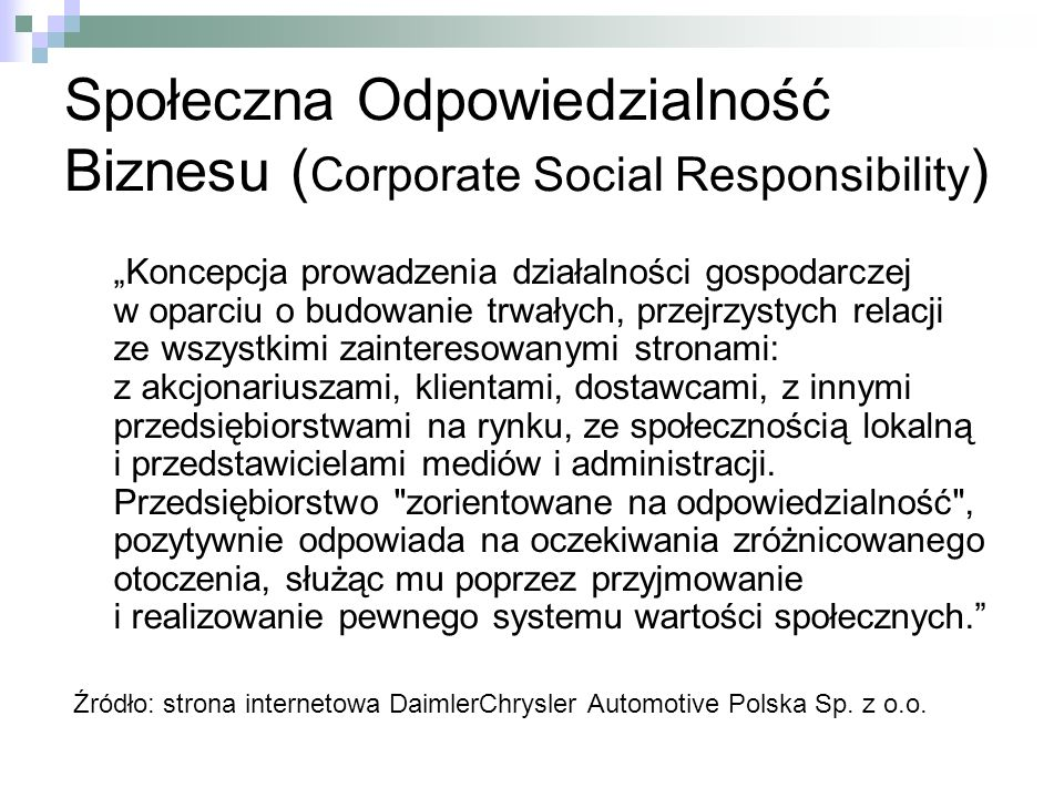 Społeczna Odpowiedzialność Biznesu (Corporate Social Responsibility)