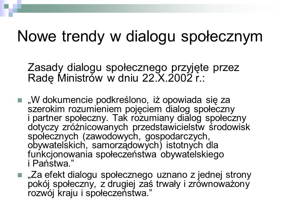 Nowe trendy w dialogu społecznym